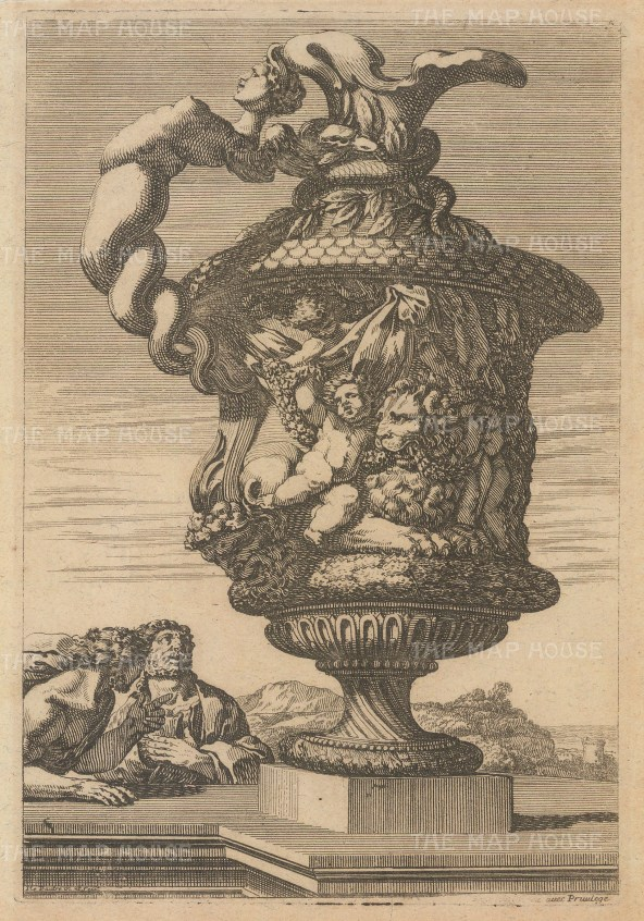Baroque Ewer: With a putti and winged female figure handle.