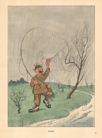 "Bateman: Fishing. c1930. A hand coloured original vintage. lithograph. 7"" x 10"". [FIELDp1500]"