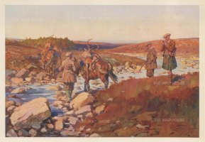 """Edwards: Stag Hunting. 1937. An original vintage chromolithograph. 14"""" x 9"""". [FIELDp1523]"""
