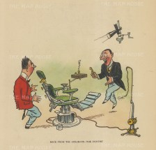 "Bateman: The Dentist back form the holidays. c1930. A hand coloured original vintage lithograph. 7"" x 6"". [LDNp10161]"