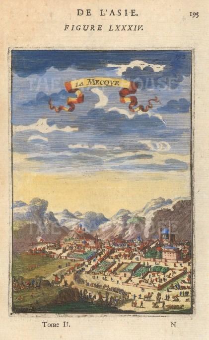"Mallet: Mecca. 1683. A hand coloured original antique copper engraving. 4"" x 6"". [MEASTp1576]"