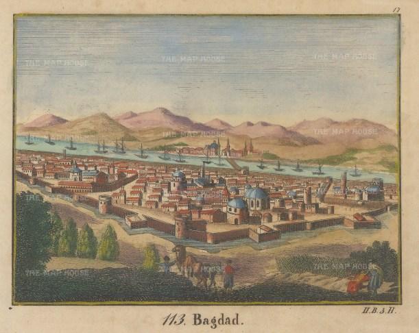 Iraq: Baghdad. Bird's eye view towards the Tigris River.