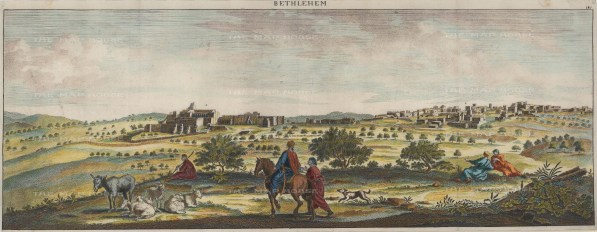 Bethlehem: Panoramic view of the town and the Church of the Nativity.
