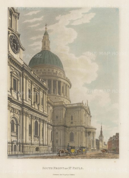 "Malton: St Paul's Cathedral, South Front. 1792. A hand coloured original antique aquatint. 11"" x 14"". [LDNp3293]"