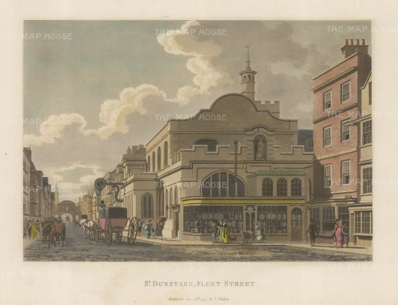 "Malton: St. Dunstan's Fleet Street. 1792. A hand coloured original antique aquatint. 14"" x 11"". [LDNp3304]"