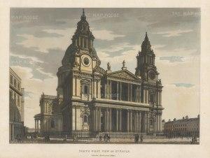 "Malton: St Paul's Cathedral. 1792. A hand coloured original antique aquatint. 14"" x 11"". [LDNp4482]"