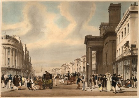 """Regent Street, looking towards the Quadrant between Prince's Street and Hanover Street and showing Cockerell's Hanover Chapel. A poster carried by a young boy says """"Vote for Boys""""."""