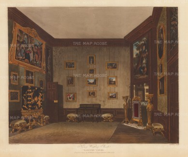 King's Writing Closet with a painting by Bougdane over the chimney piece and a mirror reflecting other chambers.