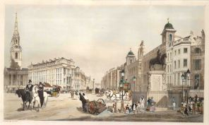 """Charing Cross. Entry to the Strand from Charing Cross, showing the portico of St Martin in the Fields, the opening of the Strand and Northumberland House. Inscribed on the pedestal of Charles I's statue is """"T. S. Boys 1841""""."""