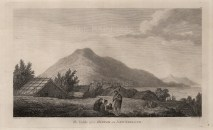 Motuara, Marlborough Sound. Maori Hippah or Pa with houses made of reeds. After John Webber, artist on the Third Voyage.