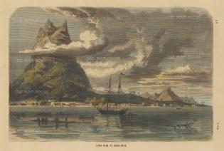 "Collins: Bora Bora. c1870. A hand coloured original antique wood engraving. 11"" x 7"". [PLYp249]"