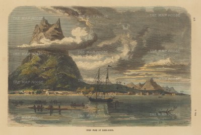 "Collins: Bora Bora. c1870. A hand coloured original antique wood engraving. 11"" x 7"". [PLYp249]"