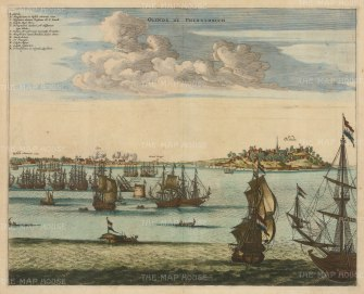 Olinda: View of the town and harbour with key in Latin. Founded by the Portuguese in 1537, the inlet was under Dutch control at this time.