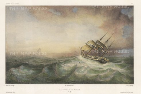Chile: Cap Horn. La Bonite in a storm. After Barthelemy Lauvergne, artist on the voyage of La Bonite 1836-7.