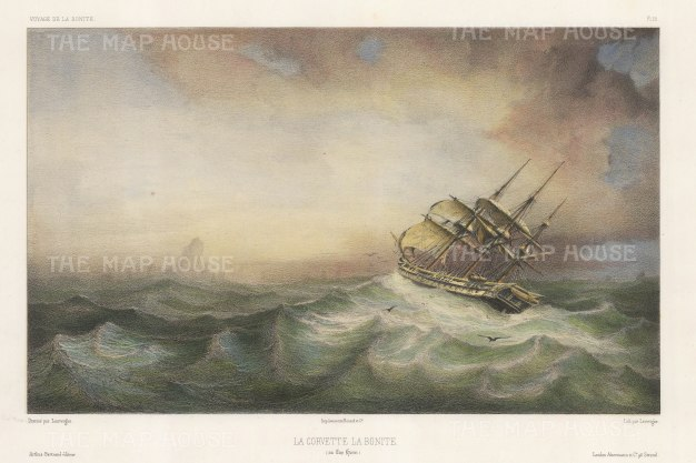 Chile: Cap Horn. La Bonite in a storm. After Barthelemy Lauvergne, artist on the voyage of La Bonite 1836-7.