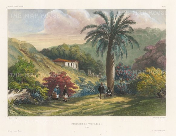 "Capt. Vaillant: Valparaiso, Chile. c.1850. A hand coloured original antique lithograph. 13"" x 10"". [SAMp1279]"