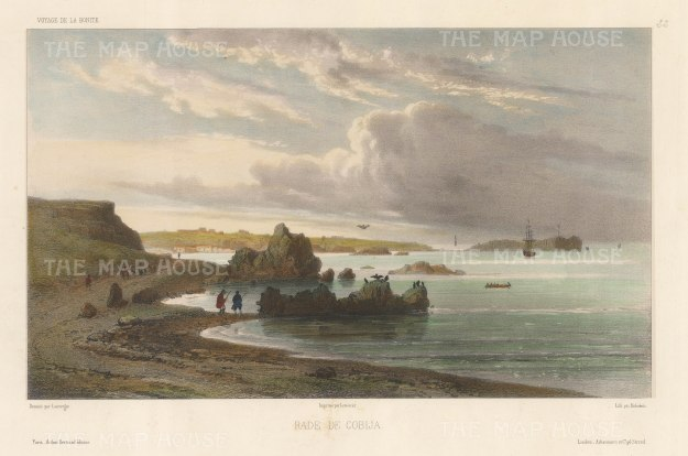 "Capt. Vaillant: Cobija, Chile. c.1850. A hand coloured original antique lithograph. 13"" x 10"". [SAMp441]"