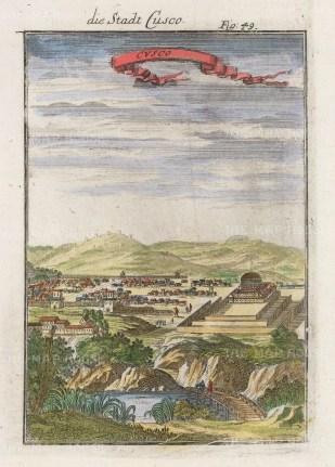 "Mallet: Cusco, Peru. 1719. A hand coloured original antique copper engraving. 4"" x 6"". [SAMp697]"