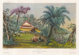 Vietnam. View of a Pagoda at Touranne (Da Nang) with the artist sketching in the foreground. After Barthelemy Lauvergne, one of the artists on the voyage of La Bonite 1836-7.