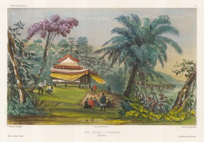 Vietnam: View of a Pagoda at Touranne (Da Nang) with the artist sketching in the foreground. After Barthelemy Lauvergne, one of the artists on the voyage of La Bonite 1836-7.