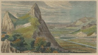 """Illustrated London News: Ayearwady River Valley. c1880. A hand coloured original antique wood engraving. 9"""" x 5"""". [SEASp1347]"""