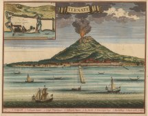 Molluccas: Ternate. View of the mount erupting with inset plan of the fort founded in 1522 by the Portuguese governor Antonio de Brito.