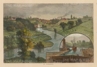 """Picturesque Canada: St. Catherine's. 1867. A hand coloured original antique wood engraving. 10"""" x 7"""". [CANp517]"""