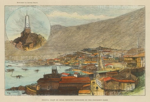 "Graphic Magazine: Pisagua, Chile. c1860. A hand coloured original antique wood engraving. 10"" x 7"". [SAMp1214]"