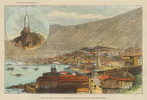 "Graphic Magazine: Pisagua, Chile. c1860. A hand coloured original antique wood engraving. 10"" x 7"". [SAMp1214]"
