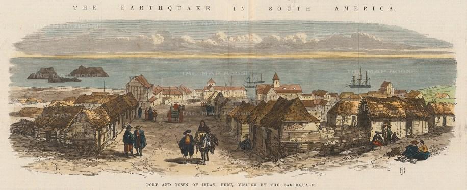 "Illustrated London News: Islay, Peru. 1868. A hand coloured original antique wood engraving. 15"" x 7"". [SAMp1359]"