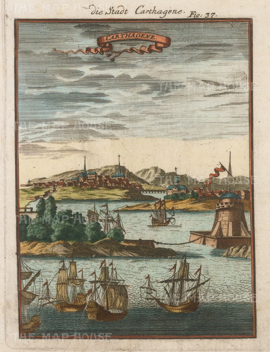 "Mallet: Cartagena, Columbia. 1719. A hand coloured original antique copper engraving. 4"" x 6"". [SAMp1406]"