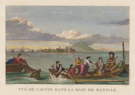 Manila. View of a full boat in an inlet of the bay. After Gaspard Duchy de Vancy, artist on the La Perouse Expedition1785-9, which later disappeared without a trace.
