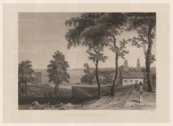 Malaysia: Malacca. Entrance to the Malacca River. After Francoise-Emond Paris, artist on the voyage of La Favorite 1829-32.