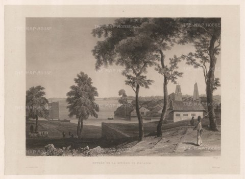 Malaysia. Entrance to the Malacca River. After Francoise-Emond Paris, artist on the voyage of La Favorite 1829-32.
