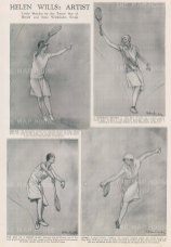 Wimbledon: Service, A backhand return, The end of a grand slam and Saved. Sketches by Helene Wills, 8 times champion of Wimbledon, exhibited at a one off exhibition Bond Street.