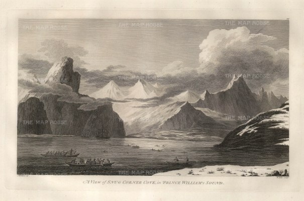 Snug Corner Cove with the Resolution and Discovery at anchor. After John Webber, artist on the Third Voyage.