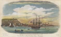 "Gold: Carlisle Bay, Barbados. 1817. A hand coloured original antique steel engraving. 9"" x 5"". [WINDp1141]"