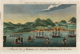 "Middleton: Roseau, Dominica. 1778. A hand coloured original antique copper engraving. 12"" x 7"". [WINDp1196]"