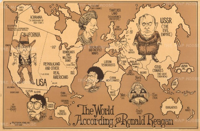 World map satirising President Reagan's Cold War worldview in the late 1980s.