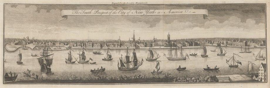 "London Magazine: New York City. 1761. An original antique copper engraving. 21"" x 7"". [USAp4846]."