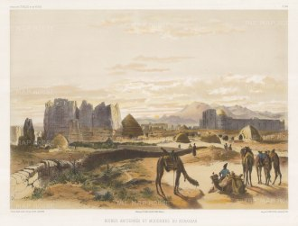 Khorassan: View of the Islamic, Buddhist and Zoroastran ruins at Balkh. After Jules Laurens.