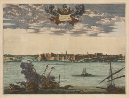 Libya: Tripoli. Panorama of the fortified city and port, a principal settlement for pirates on the Barbary coast.