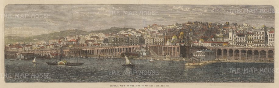 "Illustrated London News: Algiers, Algeria. 1865. A hand coloured original antique wood engraving. 21"" x 8"". [AFRp1389]"