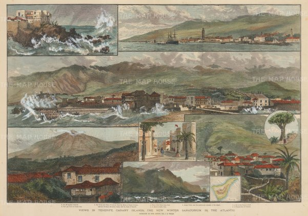 Tenerife, Canary Islands: Nine views to include a panorama of the peak, views of Santa Cruz, Anaga Point and a miniature map.