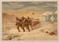 Explorers pulling sledge with Union Jack: From the Expedition of HMS Alert 1875/77.