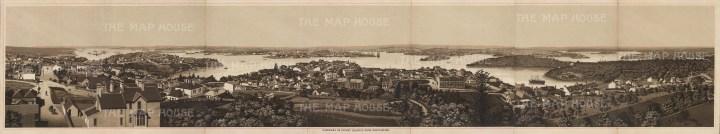 """Anonymous: Port Jackson, Sydney. c1910. An original antique photo-lithograph. 37"""" x 7"""". [AUSp688]"""