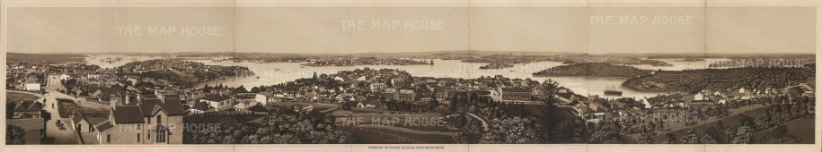 "Anonymous: Port Jackson, Sydney. c1910. An original antique photo-lithograph. 37"" x 7"". [AUSp688]"