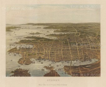 "Collins: Sydney. c1870. An original antique chromolithograph. 10"" x 8"". [AUSp720]"