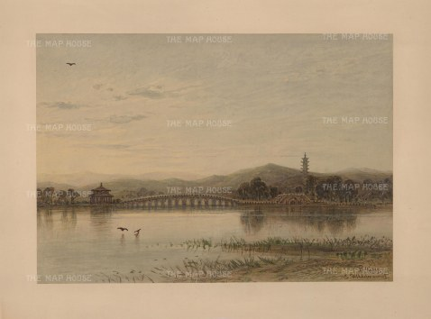 Peking: Lugou bridge over the Yongding River to the Wanping Fortress. Drawn from life during Hildebrandt's 'round-the-world' voyage