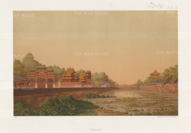 RARE: Peking. Imperial City. View on the Moat (Tongzi River). Drawn from life during the diplomatic mission of Prince zu Eulanberg to China, Japan & Siam 1859-62.